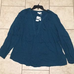 Style and Co Teal Blouse Size L